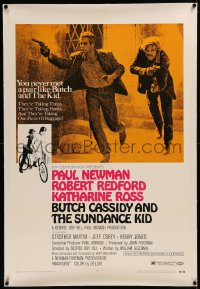 6y0050 BUTCH CASSIDY & THE SUNDANCE KID linen style B 1sh 1969 Paul Newman, Robert Redford, Ross!