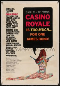 6y0053 CASINO ROYALE linen 1sh 1967 all-star James Bond spy spoof, Robert McGinnis psychedelic art!