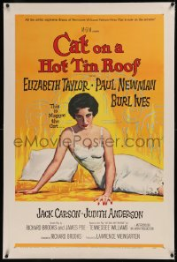 6y0054 CAT ON A HOT TIN ROOF linen 1sh 1958 classic artwork of Elizabeth Taylor as Maggie the Cat!
