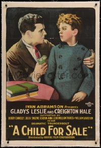 6y0055 CHILD FOR SALE linen 1sh 1920 Creighton Hale tells his son why he had to sell his sister, rare!