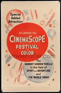 6y0058 CINEMASCOPE FESTIVAL IN COLOR linen 1sh 1955 newest screen thrills in sport and adventure!