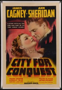6y0059 CITY FOR CONQUEST linen 1sh 1940 romantic c/u of boxer James Cagney & sexy Ann Sheridan, rare