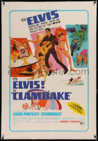 6y0060 CLAMBAKE linen 1sh 1967 McGinnis art of Elvis Presley in speed boat w/sexy babes, rock & roll!