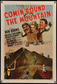 6y0062 COMIN' ROUND THE MOUNTAIN linen 1sh 1940 wacky art of radio stars in hot air balloon, ultra rare!