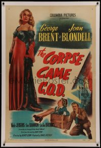 6y0064 CORPSE CAME C.O.D. style B 1sh 1947 art of Joan Blondell, Brent & sexy Adele Jergens!