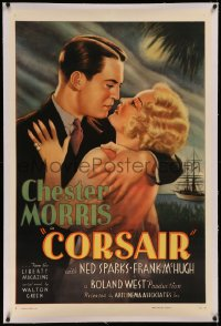 6y0065 CORSAIR linen 1sh R1937 great romantic art of Chester Morris about to kiss pretty Thelma Todd!