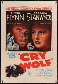 6y0067 CRY WOLF linen 1sh 1947 Barbara Stanwyck's husband dies & his uncle is sinister Errol Flynn!