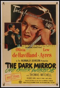 6y0069 DARK MIRROR linen 1sh 1946 Lew Ayres loves one twin Olivia de Havilland and hates the other!