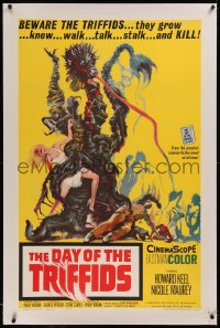 6y0070 DAY OF THE TRIFFIDS linen 1sh 1962 classic English sci-fi horror, cool art of monster w/girl!