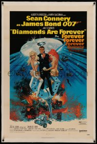 6y0074 DIAMONDS ARE FOREVER linen 1sh 1971 Robert McGinnis art of Sean Connery as James Bond 007!