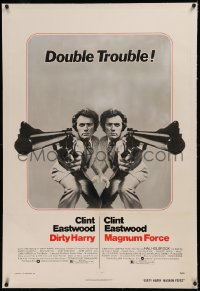 6y0077 DIRTY HARRY/MAGNUM FORCE linen 1sh 1975 cool mirror image of Clint Eastwood, double trouble!