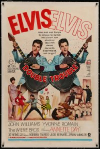6y0079 DOUBLE TROUBLE linen 1sh 1967 cool mirror image of rockin' Elvis Presley playing guitar!