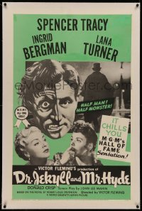 6y0080 DR. JEKYLL & MR. HYDE linen 1sh R1954 cool art of Spencer Tracy as half-man, half-monster!