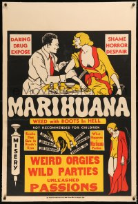 6y0181 MARIHUANA linen 1sh 1930s Dwain Esper drug expose, weed with roots in Hell, weird orgies, rare!