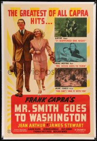6y0189 MR. SMITH GOES TO WASHINGTON linen style C 1sh 1939 James Stewart & Jean Arthur, ultra rare!