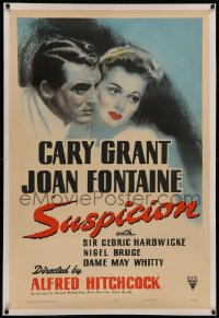 6y0276 SUSPICION linen 1sh 1941 Alfred Hitchcock, art of Cary Grant & Joan Fontaine, ultra rare!