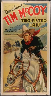 6z0033 TWO FISTED LAW linen 3sh 1932 great close up art of Daredevil Tim McCoy on horseback, rare!