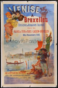 6z0053 VENISE A BRUXELLES linen 40x62 Belgian special poster 1895 great Guadio art of Venice canals!