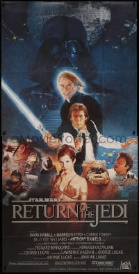 7a0016 RETURN OF THE JEDI 3sh 1983 George Lucas classic, Hamill, Ford, Fisher, Sano art, very rare!