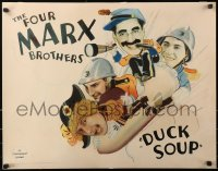 7a0357 DUCK SOUP style B 1/2sh 1933 four Marx Brothers, Groucho, Harpo, Chico & Zeppo, ultra rare!