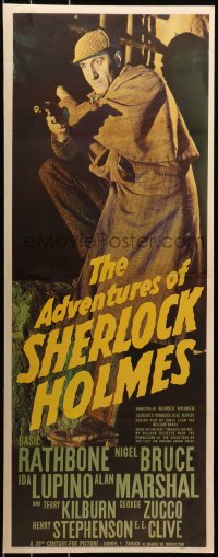 7a0338 ADVENTURES OF SHERLOCK HOLMES insert 1939 detective Basil Rathbone with gun, ultra rare!