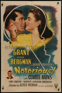 7a0319 NOTORIOUS style A 1sh 1946 Cary Grant & Ingrid Bergman in giant key, Alfred Hitchcock, rare!