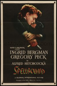 7a0326 SPELLBOUND 1sh 1945 Alfred Hitchcock, best art of Ingrid Bergman & Gregory Peck, very rare!