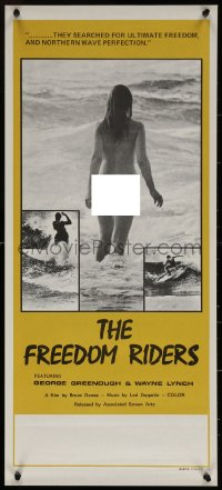 7b0051 FREEDOM RIDERS Aust daybill 1972 completely naked Aussie surfer girl, yellow border design!
