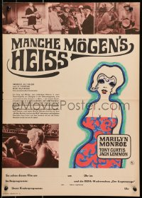 7b0008 SOME LIKE IT HOT East German 16x23 1968 Marilyn Monroe, Tony Curtis & Lemmon, different!