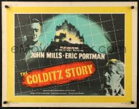 7b0036 COLDITZ STORY English 1/2sh 1956 John Mills, Eric Portman, escape from escape-proof castle