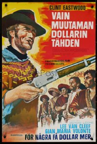 7b0012 FOR A FEW DOLLARS MORE Finnish R1970s Leone, really great c/u artwork of Clint Eastwood!