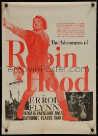 7b0026 ADVENTURES OF ROBIN HOOD New Zealand daybill R1950s Errol Flynn in the title role, different!