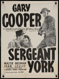 7b0028 SERGEANT YORK New Zealand daybill R1950s Gary Cooper as the most decorated WWI soldier!