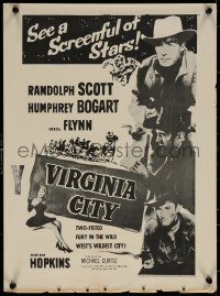 7b0029 VIRGINIA CITY New Zealand daybill R1950s Errol Flynn, Humphrey Bogart & Randolph Scott!