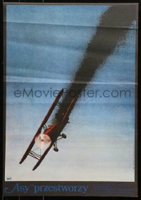 7b0006 ACES HIGH Polish 19x26 1977 Malcolm McDowell, WWI airplane crashing art by Wasilewski!