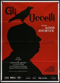 7c0041 BIRDS Italian 1p R2019 cool different art with director Alfred Hitchcock & bird silhouette!