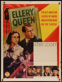 7j0001 ELLERY QUEEN 30x40 1940s Ralph Bellamy with pretty Margaret Lindsay as Nikki Porter!