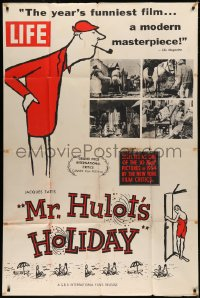 7j0008 MR. HULOT'S HOLIDAY 40x60 1954 art of Jacques Tati, advertising issue of Life Magazine, rare!