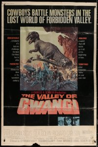 7j0010 VALLEY OF GWANGI 40x60 1969 Ray Harryhausen, great artwork of cowboys battling dinosaurs!