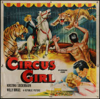 7j0070 CIRCUS GIRL 6sh 1956 art of Kristina Soederbaum on horse in cage with circus tigers!