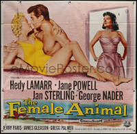 7j0077 FEMALE ANIMAL 6sh 1958 artwork of sexy Hedy Lamarr & Jane Powell romanced by George Nader!