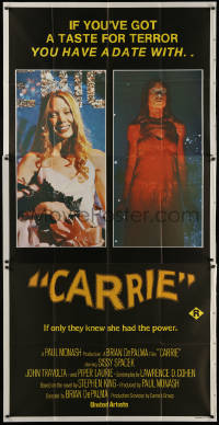 7j0035 CARRIE Aust 3sh 1977 Stephen King, Spacek before and after her bloodbath at the prom!