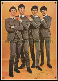 7j0050 BEATLES 39x55 commercial poster 1960s John, Paul, George & Ringo in matching suits & ties!