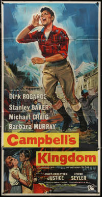 7j0027 CAMPBELL'S KINGDOM English 3sh 1957 great artwork of Dirk Bogarde by busted dam!