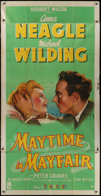 7j0030 MAYTIME IN MAYFAIR English 3sh 1952 romantic artwork of Anna Neagle & Michael Wilding!