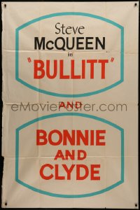 7j0018 BONNIE & CLYDE/BULLITT 40x60 special poster 1969 ultra rare double bill, one of a kind!