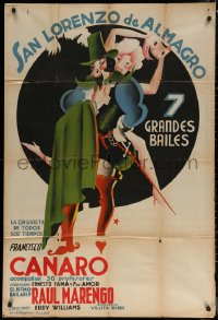 7j0042 FRANCISCO CANARO 29x43 Argentinean music poster 1930s full-color art of dancer, ultra rare!