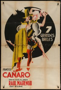 7j0043 FRANCISCO CANARO 29x43 Argentinean music poster 1930s three-color art of dancer, ultra rare!