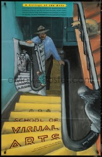 7j0019 SCHOOL OF VISUAL ARTS 30x46 special poster 1999 Jerry Moriarty art of people on stairs!