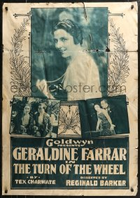7j0002 TURN OF THE WHEEL rotogravure 1sh 1918 Geraldine Farrar saves broke Monte Carlo gambler, rare!